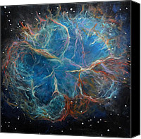 Space Art Canvas Prints - Crab Nebula Canvas Print by Alizey Khan