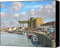 Norfolk Painting Canvas Prints - Crabbing - Wells-next-the-Sea Norfolk Canvas Print by Richard Harpum