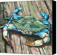 Blue Painting Canvas Prints - Crabby Blue Canvas Print by Dianne Parks