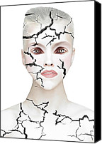 Human Beings Mixed Media Canvas Prints - Crack Canvas Print by Yosi Cupano