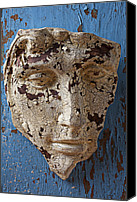 Still Life Sculpture Photo Canvas Prints - Cracked Face On Blue Wall Canvas Print by Garry Gay