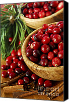 Wooden Bowls Canvas Prints - Cranberries in bowls Canvas Print by Elena Elisseeva