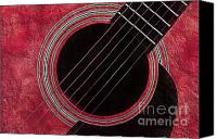 Music Photo Canvas Prints - Cranberry Guitar Canvas Print by Andee Photography