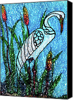 Blue Glass Art Canvas Prints - Crane Canvas Print by Farah Faizal