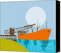 Retro Style Canvas Prints - Crane Loading A Ship Canvas Print by Aloysius Patrimonio