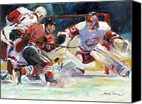 Hockey Painting Canvas Prints - Crashing The Net Canvas Print by Gordon France
