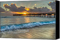 Florida Bridge Canvas Prints - Crashing Waves at Sunrise Canvas Print by Debra and Dave Vanderlaan