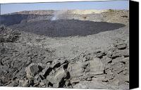 Volcanic Activity Canvas Prints - Crater Floor Covered With Basaltic Lava Canvas Print by Richard Roscoe