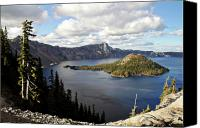 Overlook Canvas Prints - Crater Lake - Intense blue waters and spectacular views Canvas Print by Christine Till