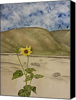 Estephy Sabin Figueroa Painting Canvas Prints - Craters of the Moon Sunflower Canvas Print by Estephy Sabin Figueroa