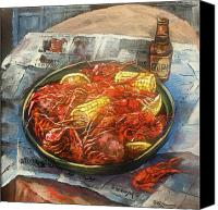 Scenes Painting Canvas Prints - Crawfish Celebration Canvas Print by Dianne Parks