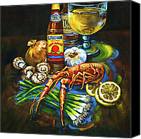 Lemon Painting Canvas Prints - Crawfish Fixins Canvas Print by Dianne Parks