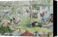 1919 Canvas Prints - Crayfishing Canvas Print by Carl Larsson