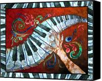 Instrument Tapestries - Textiles Canvas Prints - Crazy Fingers- Piano Keyboard - Bordered Canvas Print by Sue Duda