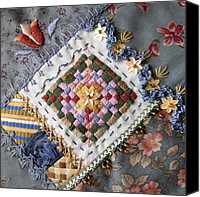 Embroidery Tapestries - Textiles Canvas Prints - Crazy Quilt Block 4 Canvas Print by Masha Novoselova