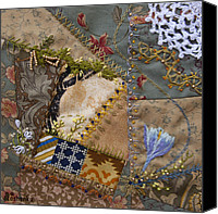 Embroidery Tapestries - Textiles Canvas Prints - crazy quilt block May 2 Canvas Print by Masha Novoselova
