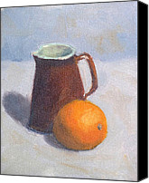 Still Life Canvas Prints - Creamer and Orange Canvas Print by Elizabeth B Tucker 