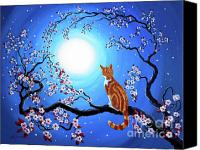 Tabby  Painting Canvas Prints - Creamsicle Kitten in Blue Moonlight Canvas Print by Laura Iverson