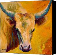 Farms Canvas Prints - Creamy Texan - Longhorn Canvas Print by Marion Rose