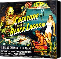 Horror Fantasy Movies Photo Canvas Prints - Creature From The Black Lagoon Canvas Print by Everett