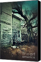 Garbage Canvas Prints - Creepy Abandoned House  Canvas Print by Jill Battaglia