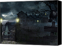 Creepy Digital Art Canvas Prints - Creepy House Canvas Print by Vasko Lazarevic