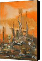 Creepy Painting Canvas Prints - Creepy landscape Canvas Print by Gayatri Manchanda