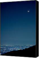 Venus Canvas Prints - Crescent Moon And Venus Canvas Print by Tomosang