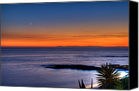 Crescent Moon Canvas Prints - Crescent Moon at Sunset Canvas Print by Eddie Yerkish