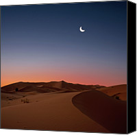 Dawn Canvas Prints - Crescent Moon Over Dunes Canvas Print by Photo by John Quintero