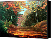Snowy Landscape Painting Canvas Prints - Cressmans Woods Canvas Print by Otto Werner