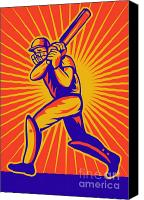 Illustration Canvas Prints - Cricket Sports Batsman Batting Canvas Print by Aloysius Patrimonio
