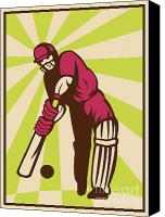 Player Canvas Prints - Cricket Sports Batsman Batting Retro Canvas Print by Aloysius Patrimonio