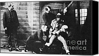 New York City Police Canvas Prints - Criminal Being Held Down For Mug Shot Canvas Print by Photo Researchers