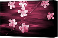 Silver Moonlight Canvas Prints - Crimson Cherry Blossom Canvas Print by Mark Moore