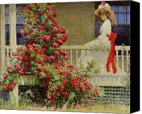 Gorgeous Women Canvas Prints - Crimson Rambler Canvas Print by Philip Leslie Hale