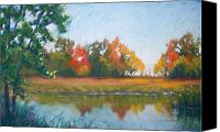 Pond Pastels Canvas Prints - Crisp Autumn Morning Spears Woods Canvas Print by Christine Kane