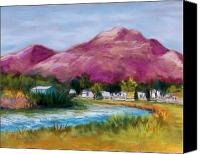 Landscapes Pastels Canvas Prints - Cristo Rey from the Valley Canvas Print by Candy Mayer