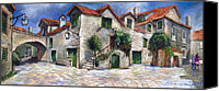 Pastel On Paper Canvas Prints - Croatia Dalmacia Square Canvas Print by Yuriy  Shevchuk