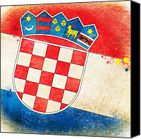 Antique Pastels Canvas Prints - Croatia Flag Canvas Print by Setsiri Silapasuwanchai
