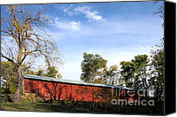 Indiana Autumn Canvas Prints - Crooks Covered Bridge Canvas Print by Alan Look