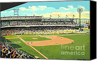 Baseball Painting Canvas Prints - Crosley Field Baseball Stadium In Cincinnati Oh Canvas Print by Dwight Goss