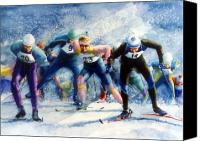 Skiing Prints Canvas Prints - Cross-Country Challenge Canvas Print by Hanne Lore Koehler
