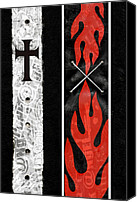 Goth Mixed Media Canvas Prints - Cross Fire Canvas Print by Roseanne Jones