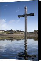 Religions Canvas Prints - Cross In Water, Bewick, England Canvas Print by John Short