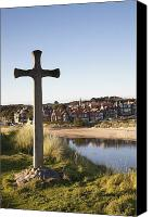 Hill Town Canvas Prints - Cross On A Hill Overlooking Town Canvas Print by John Short