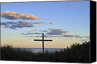 Terry Deluco Canvas Prints - Cross on Beach Canvas Print by Terry DeLuco
