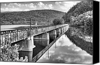 Bridge Crossing River Photo Canvas Prints - Crossing the James Canvas Print by JC Findley