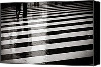 Foot Canvas Prints - Crosswalk In Rain Canvas Print by photo by Jason Weddington