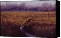 Wet Pastels Canvas Prints - Crow Creek Road Canvas Print by Deb Spinella